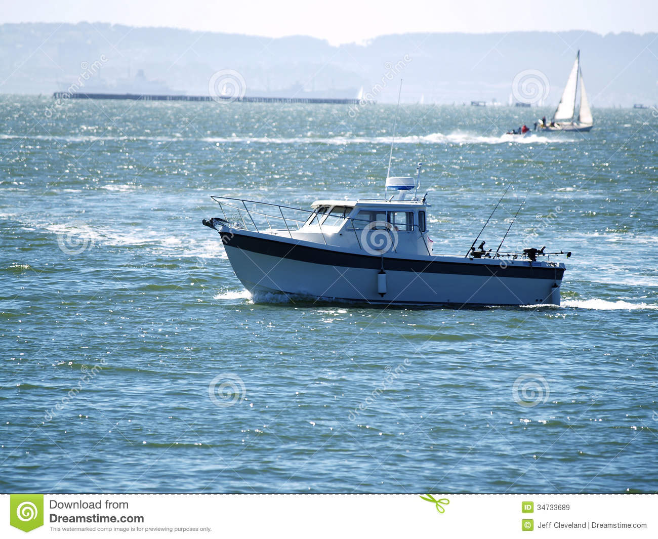 sport fishing boat on san francisco bay royalty free stock