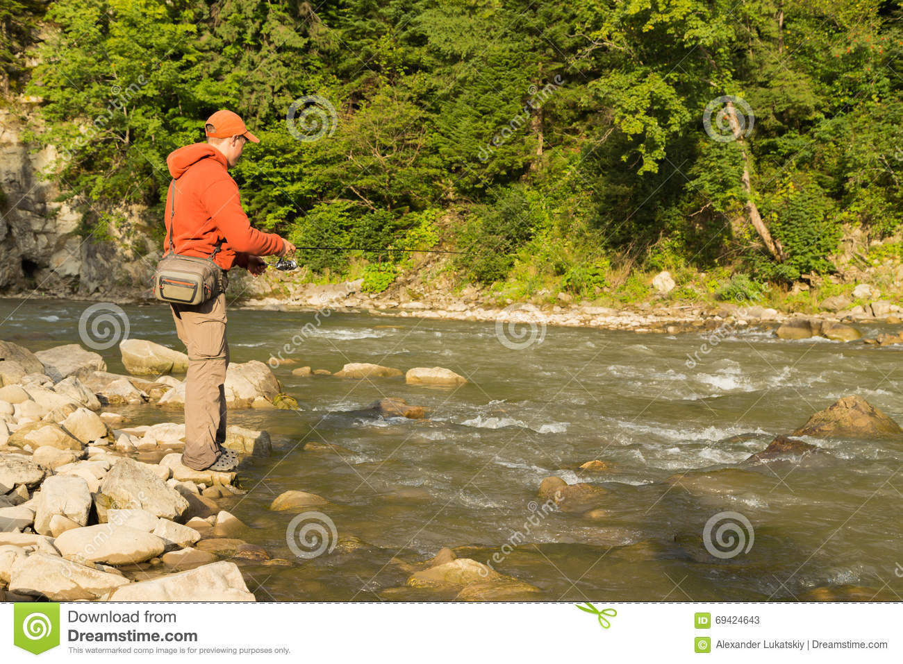 Sport Fishing For Trout In A Mountain River Royalty-Free ...