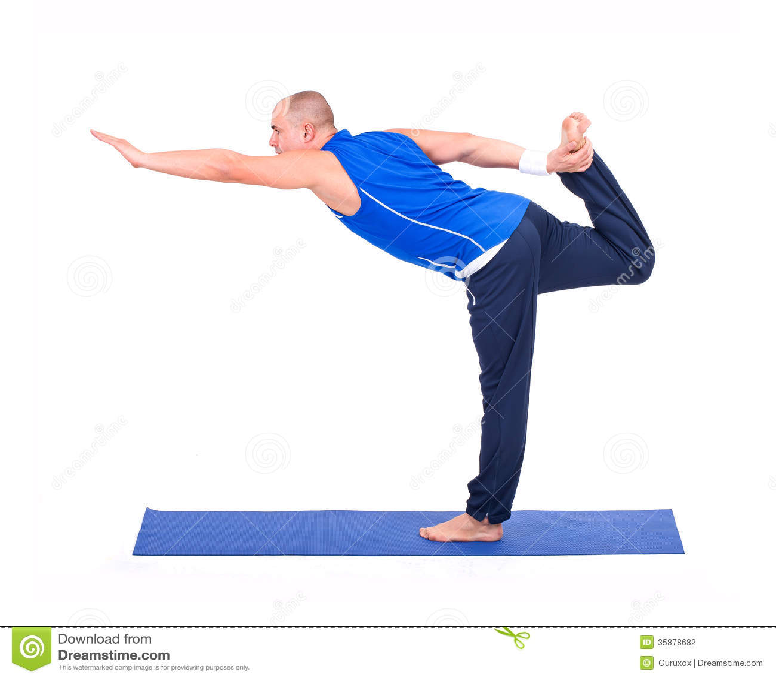 Sport Fitness Man Doing Yoga Exercise Stock Photo - Image ...