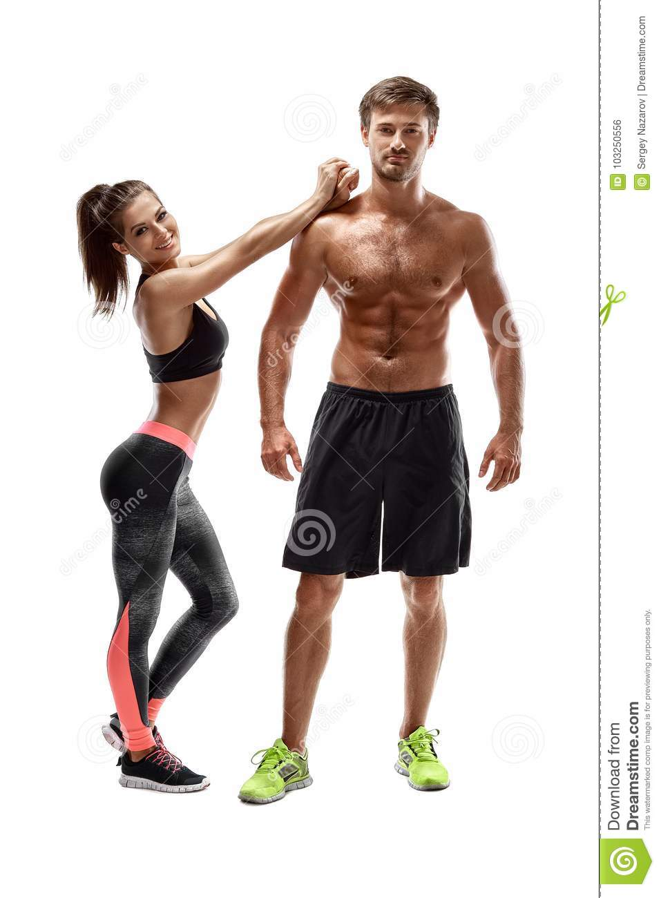 Download Sport Fitness Workout Concept Fit Couple Strong Muscular Man And Slim