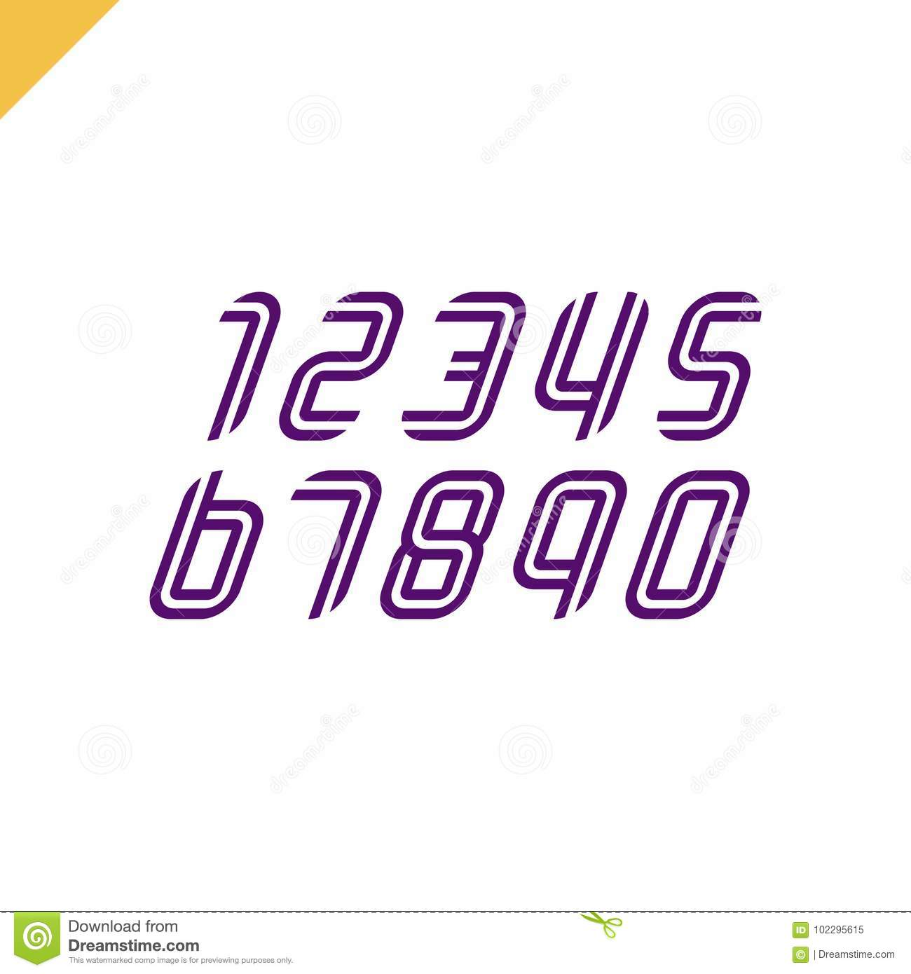 sport font numbers set logos formed by parallel lines vector design