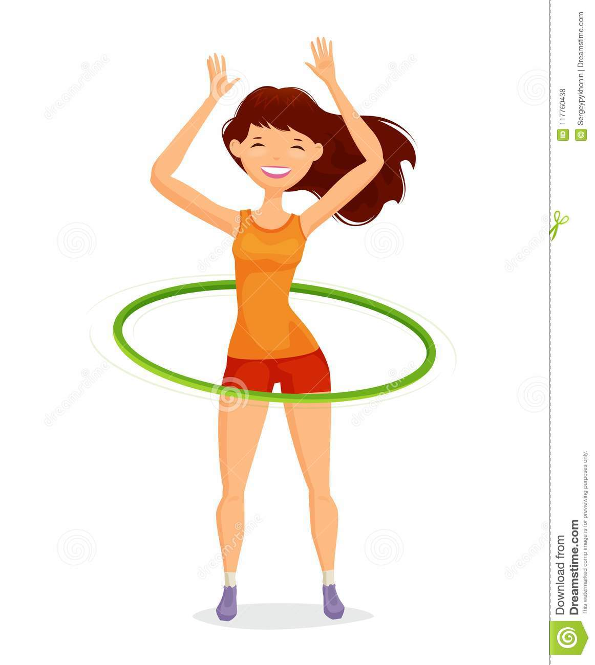 Sport girl turns the hula hoop. Fitness, healthy lifestyle concept. Funny cartoon vector illustration