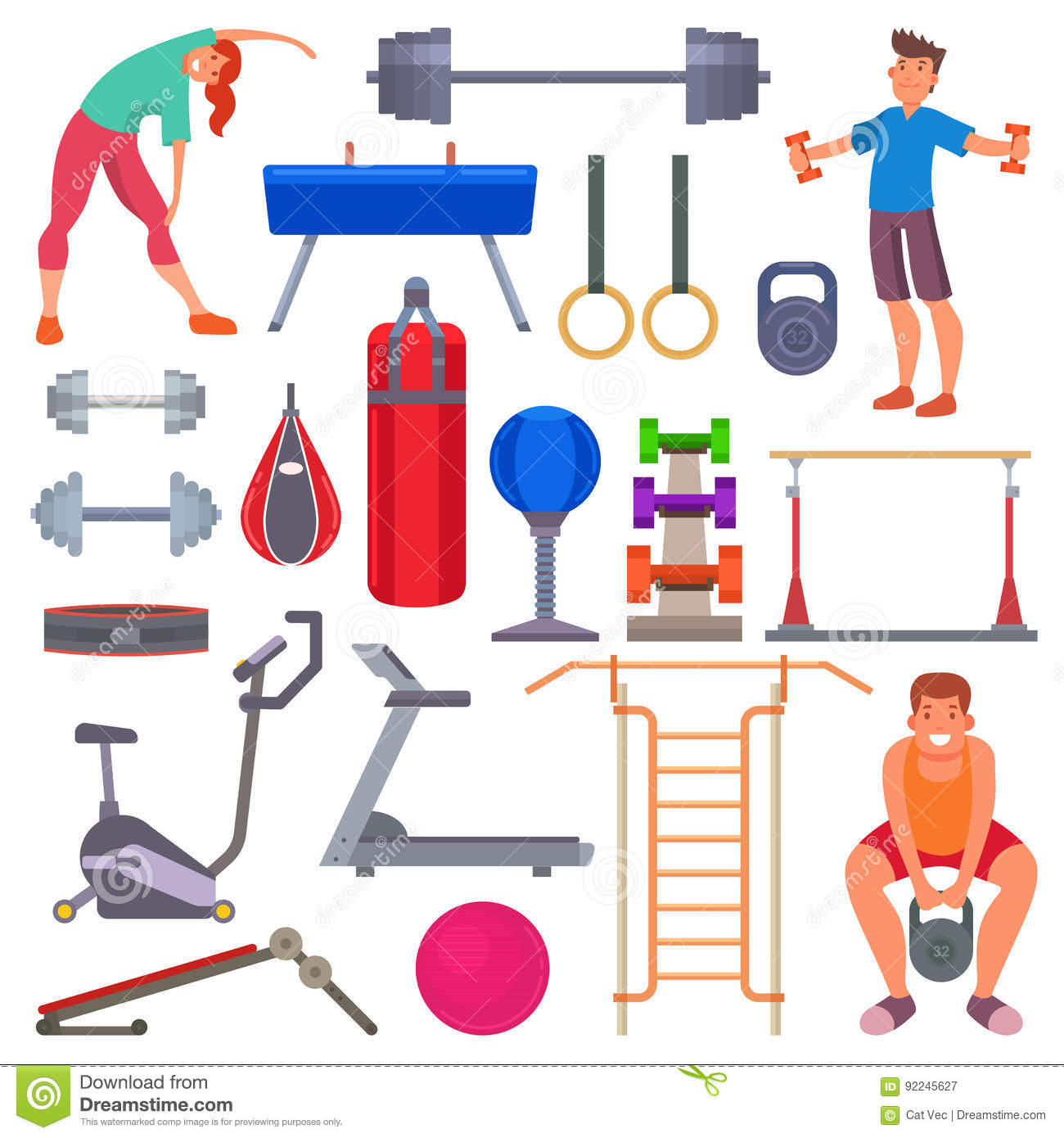 Download Sport Gym Equipment Flat Style Icons And Characters Healthy People Training Exercise Vector Illustration Stock