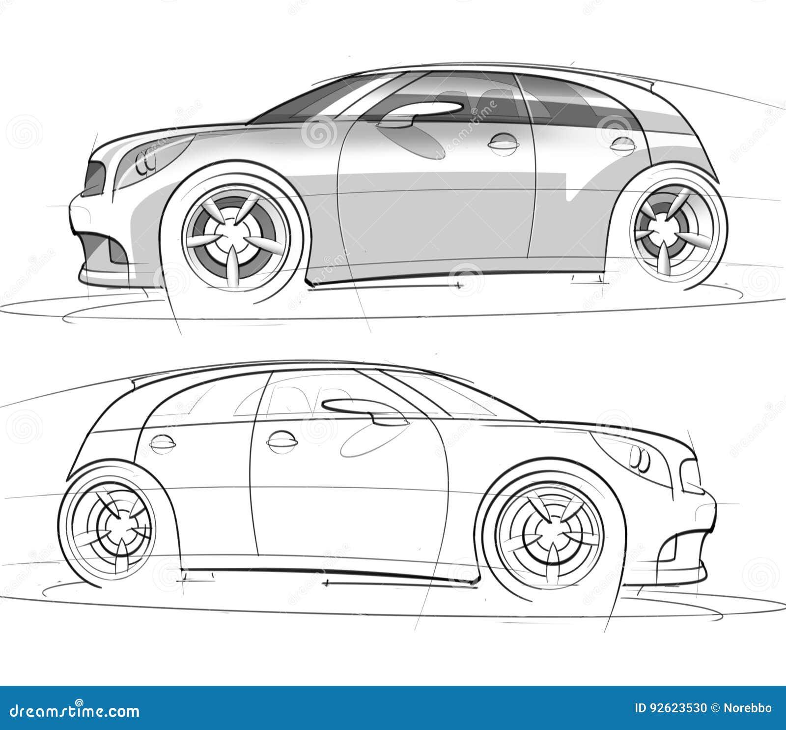 Sport Hatchback Sketch And Rendering Stock Illustration