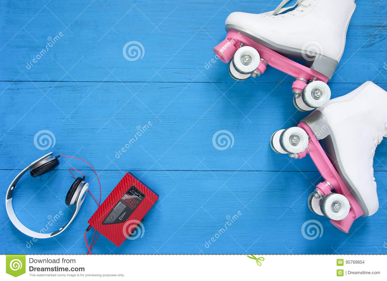 Download Sport, Healthy Lifestyle, Roller Skating Background. White Roller Skates, Headphones And Vintage Tape Player. Flat Lay, Top View. Stock Photo - Image of sporty, vintage: 95769854