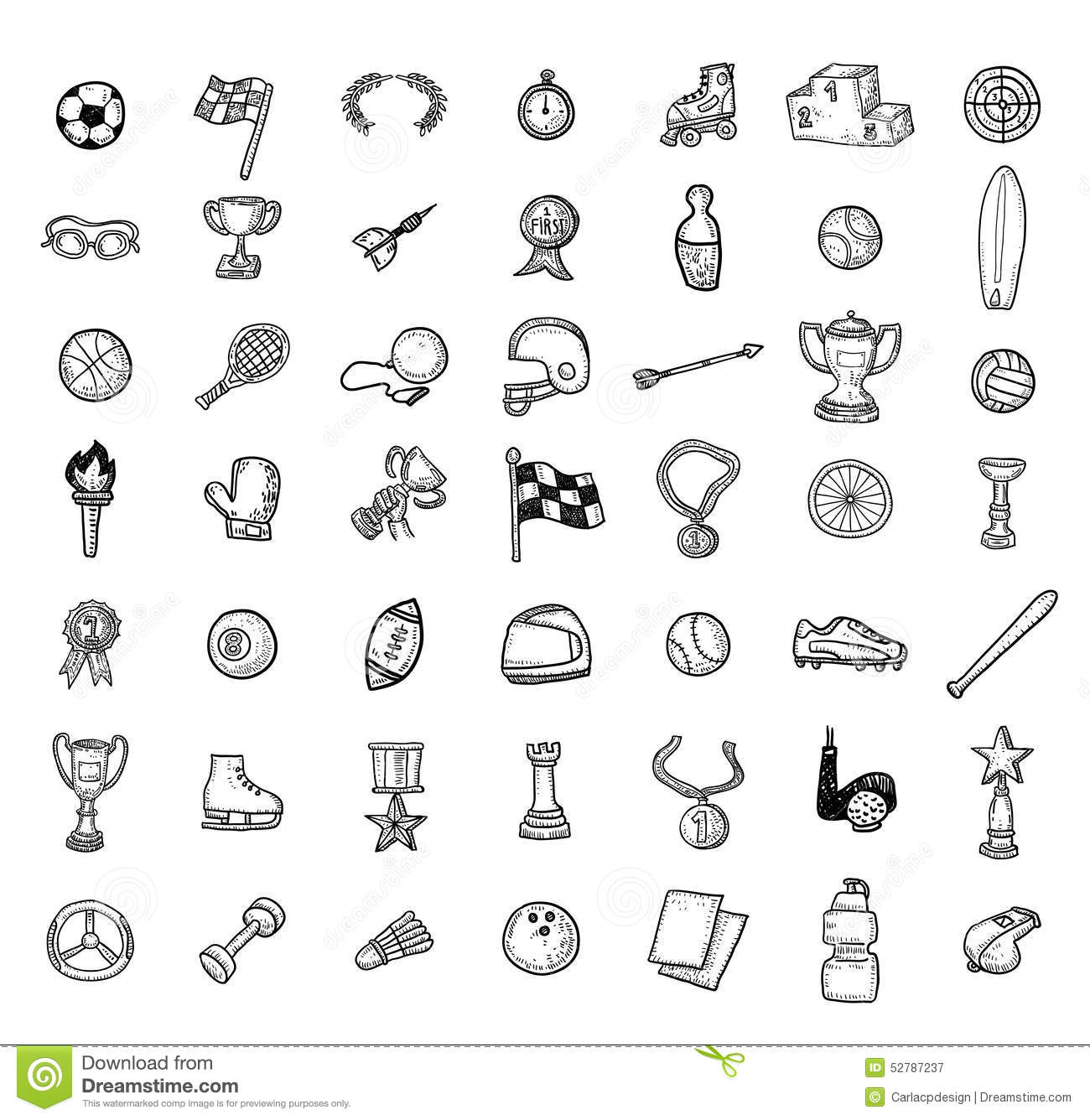 Line Drawing Icons : Sport icon set hand drawn vector illustration stock