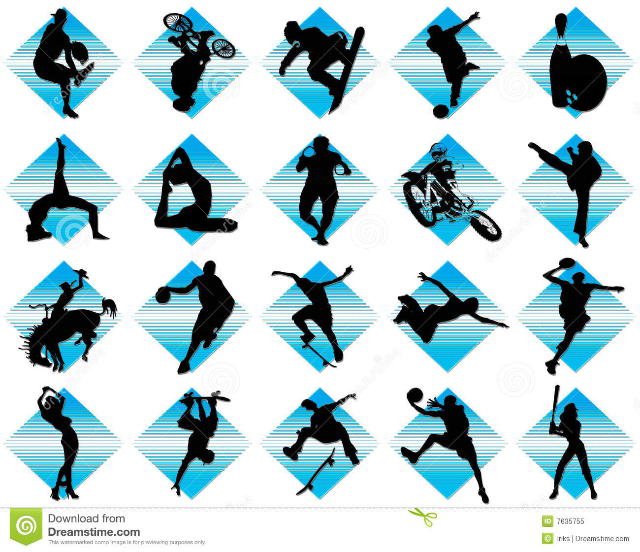 Black sport icons on white background with blue element. Vector ...