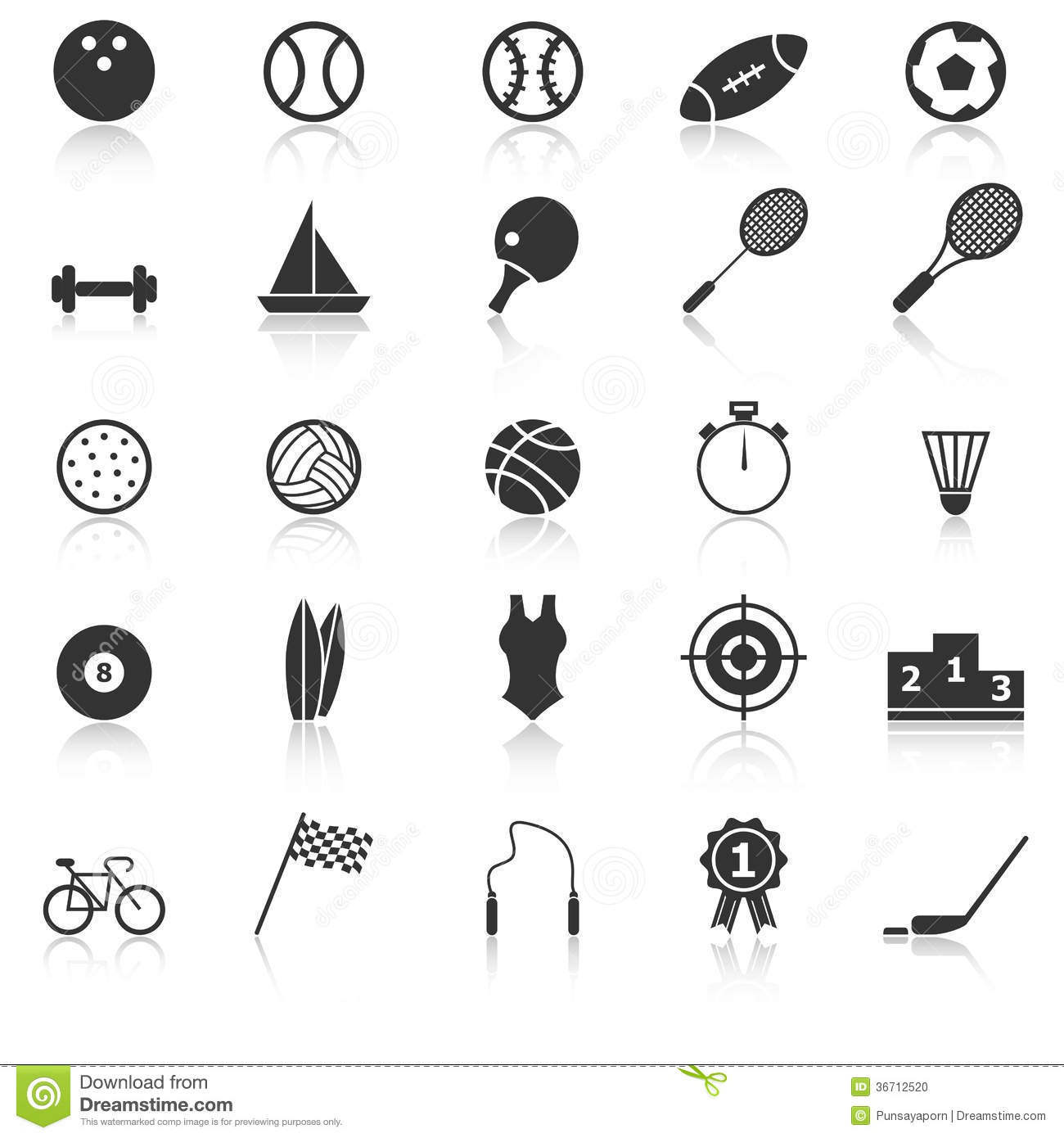 Sport Icons With Reflect On White Background Stock Photo ... Soccer Ball Vector Png