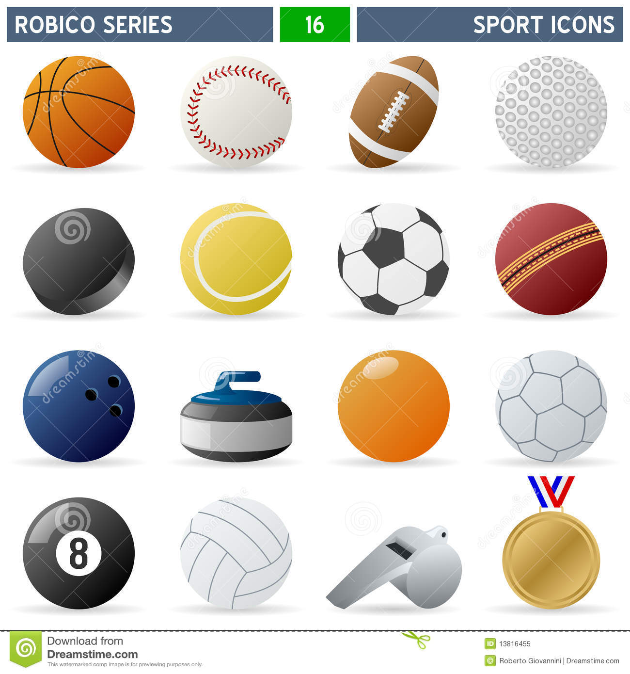 Collection of 16 colorful sport balls and accessories icons, isolated ...