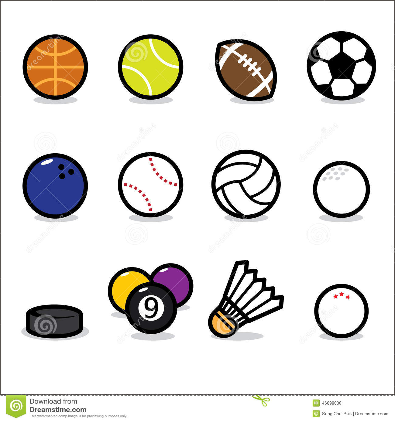 Stock Illustration Sport Icons Vector Collection Isolated White Backgr...