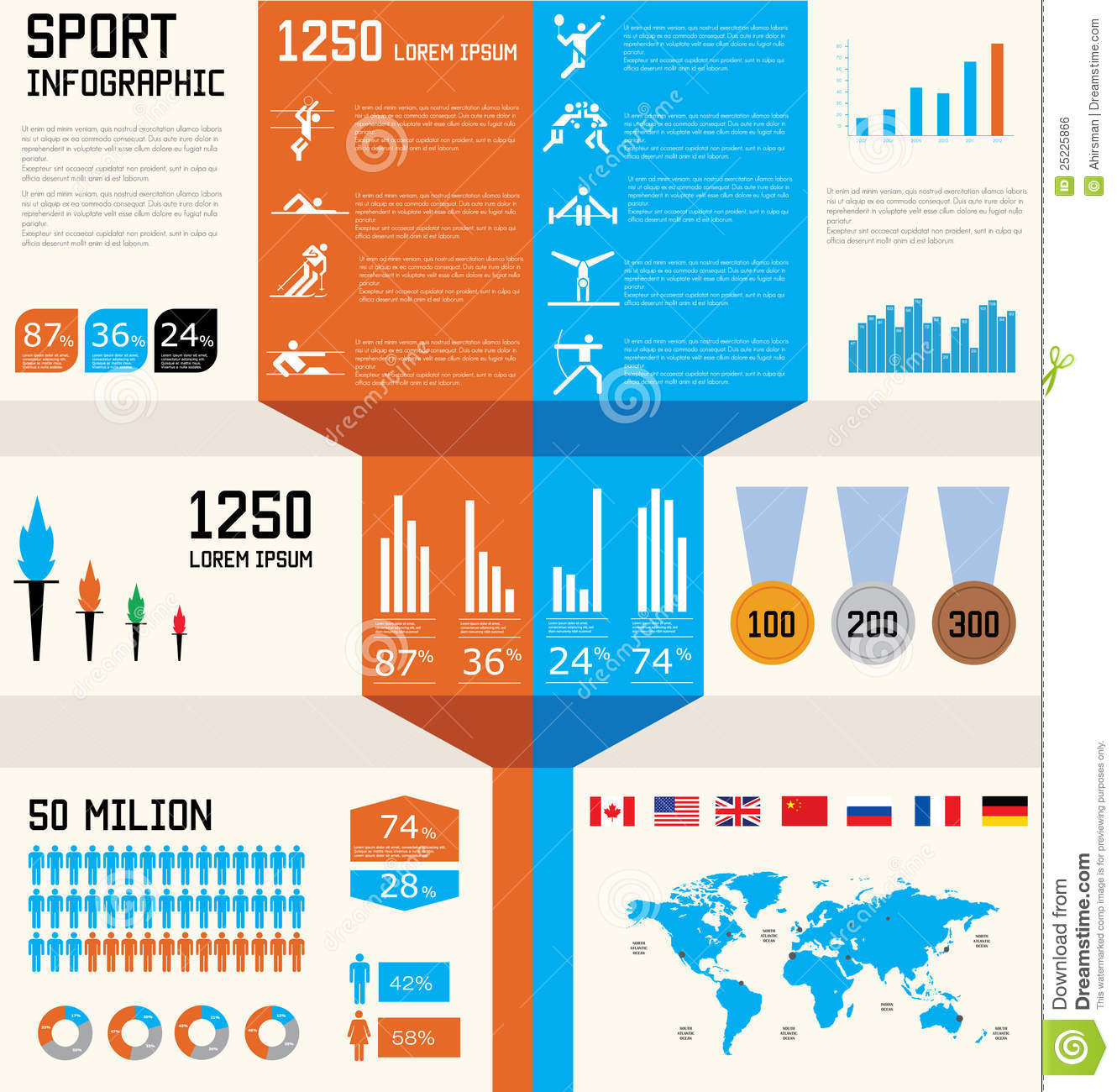 Sport Infographic Set Stock Vector Illustration Of Internet 25225866