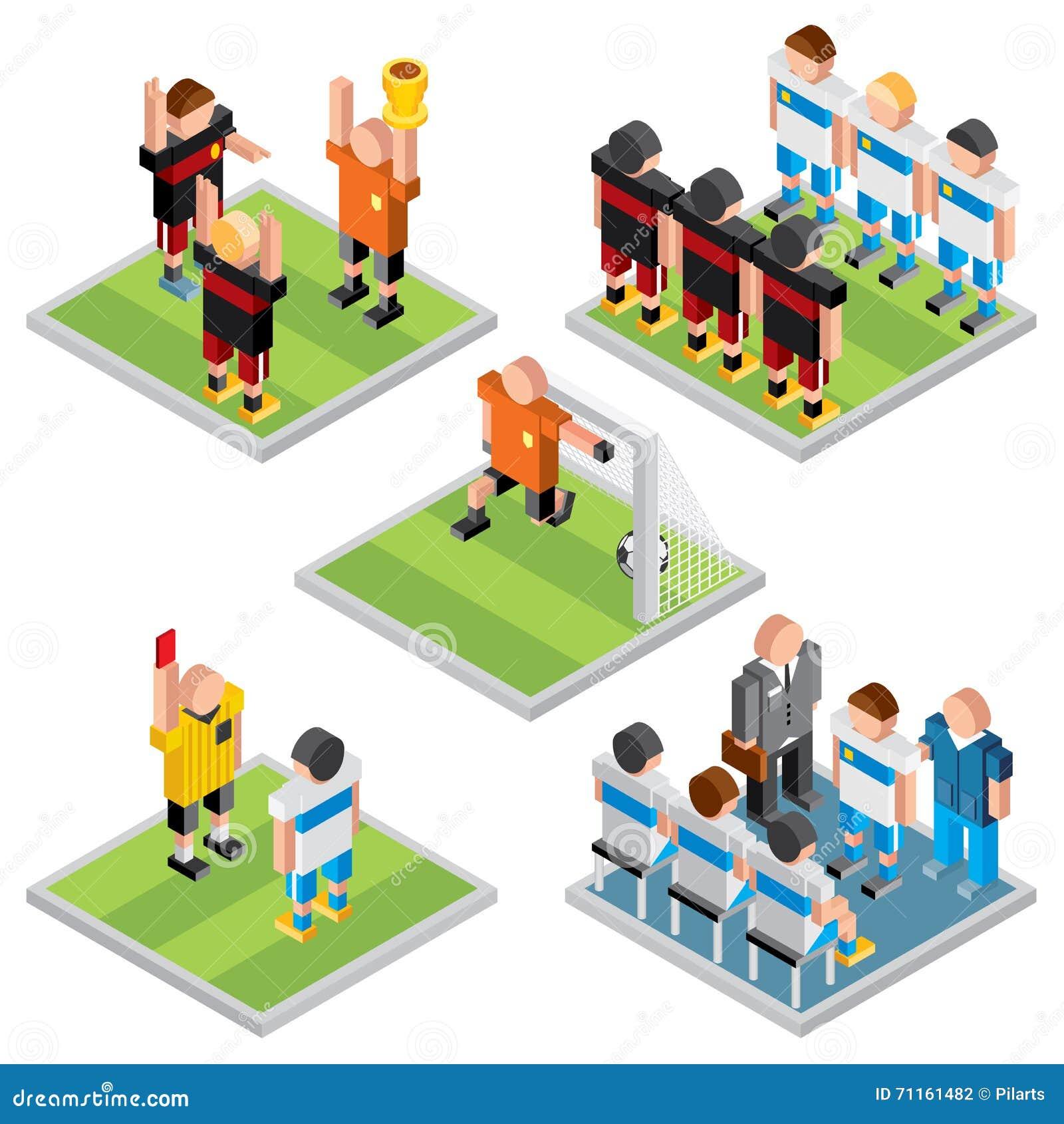 Sport isometrico di vettore metta le icone di calcio di for Progettazione 3d gratis