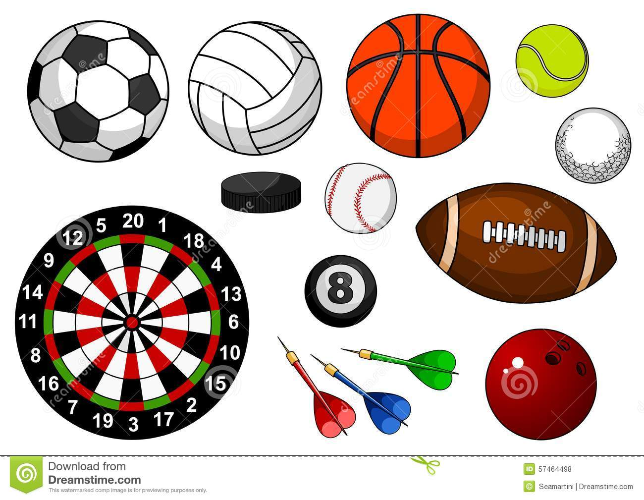 Color Sport Background Football Basketball Hockey Stock: Sport Items With Balls, Puck And Darts Stock Vector