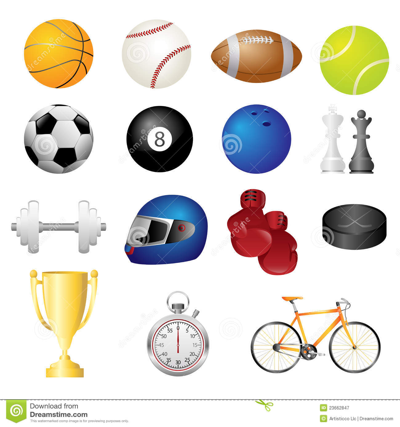 Sport Items Icons Royalty Free Stock Photography - Image: 23662847