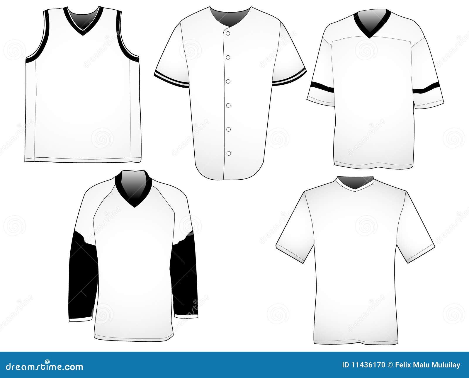 Sport jerseys templates stock vector. Illustration of blank - 11436170