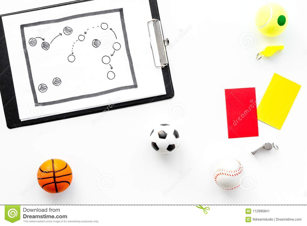 Sport judging concept. Basketball referee. Tactic plan for game, football ball, red and yellow cards, whistle on white
