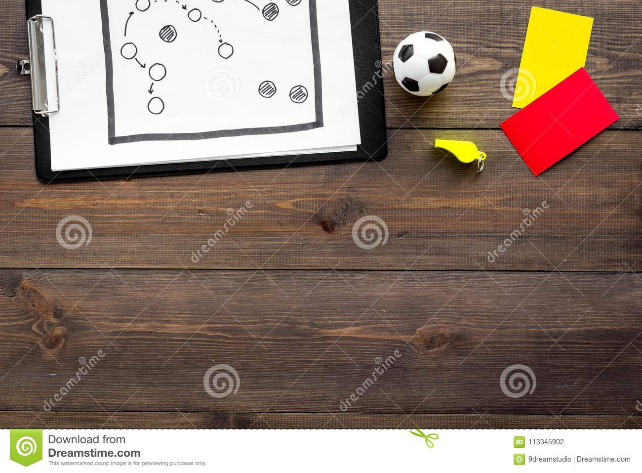 Soccer Referee Tactic Plan For Game Football Ball Red And Yellow Cards Whistle On Wooden Background Top View
