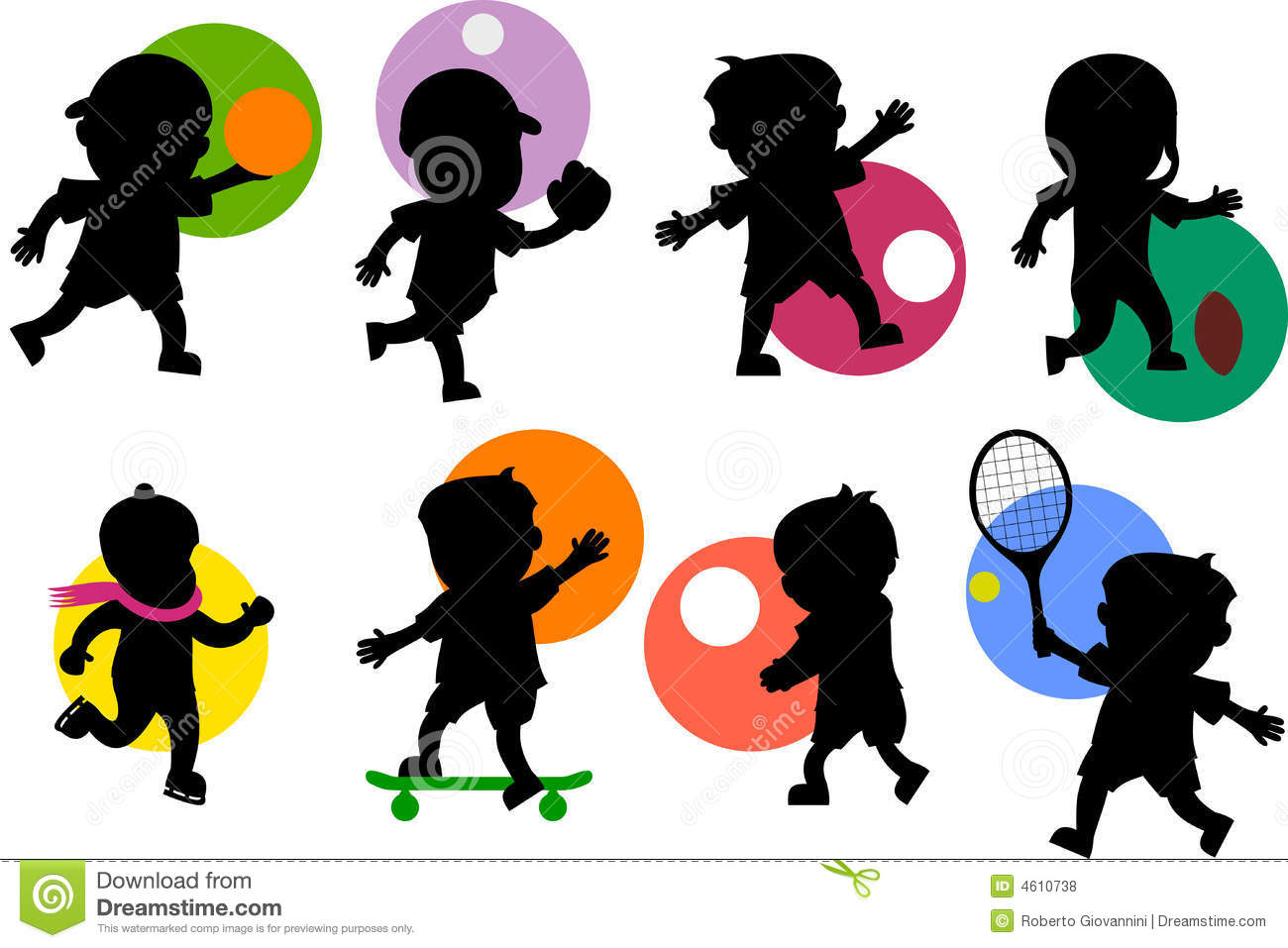 Various cartoon kids silhouettes playing different sports. Take a look ...