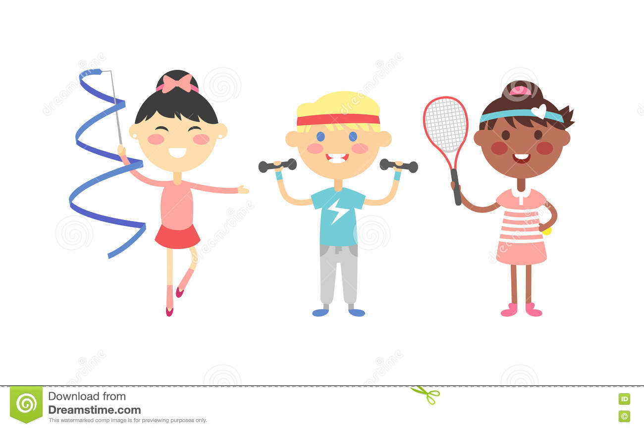 Kids Sports Cartoon: Sport Kids Vector Illustration. Cartoon Vector