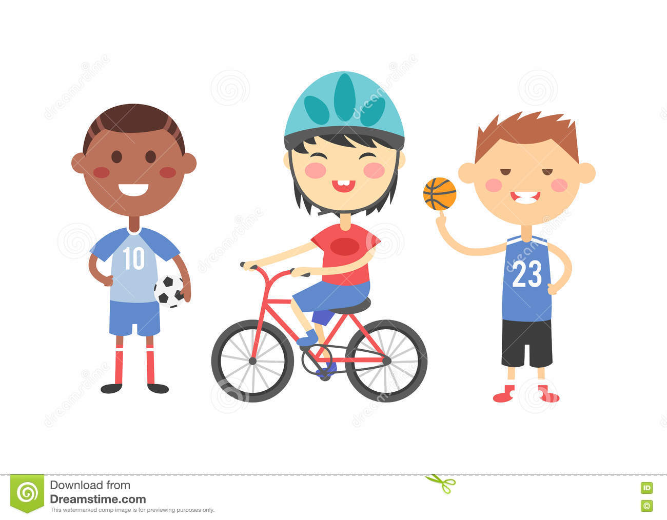 Kids Sports Cartoon: Sport Kids Vector Illustration. Stock Vector