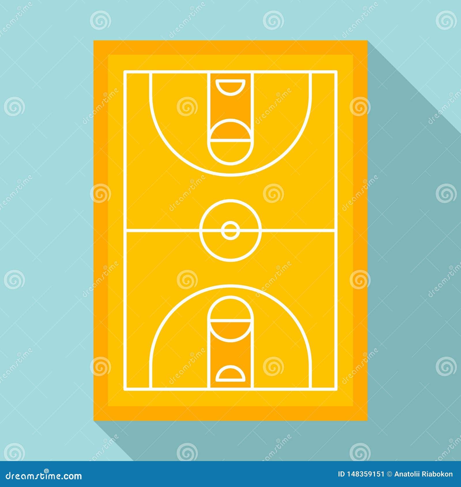 Sport koszykówki areny ikona, mieszkanie styl