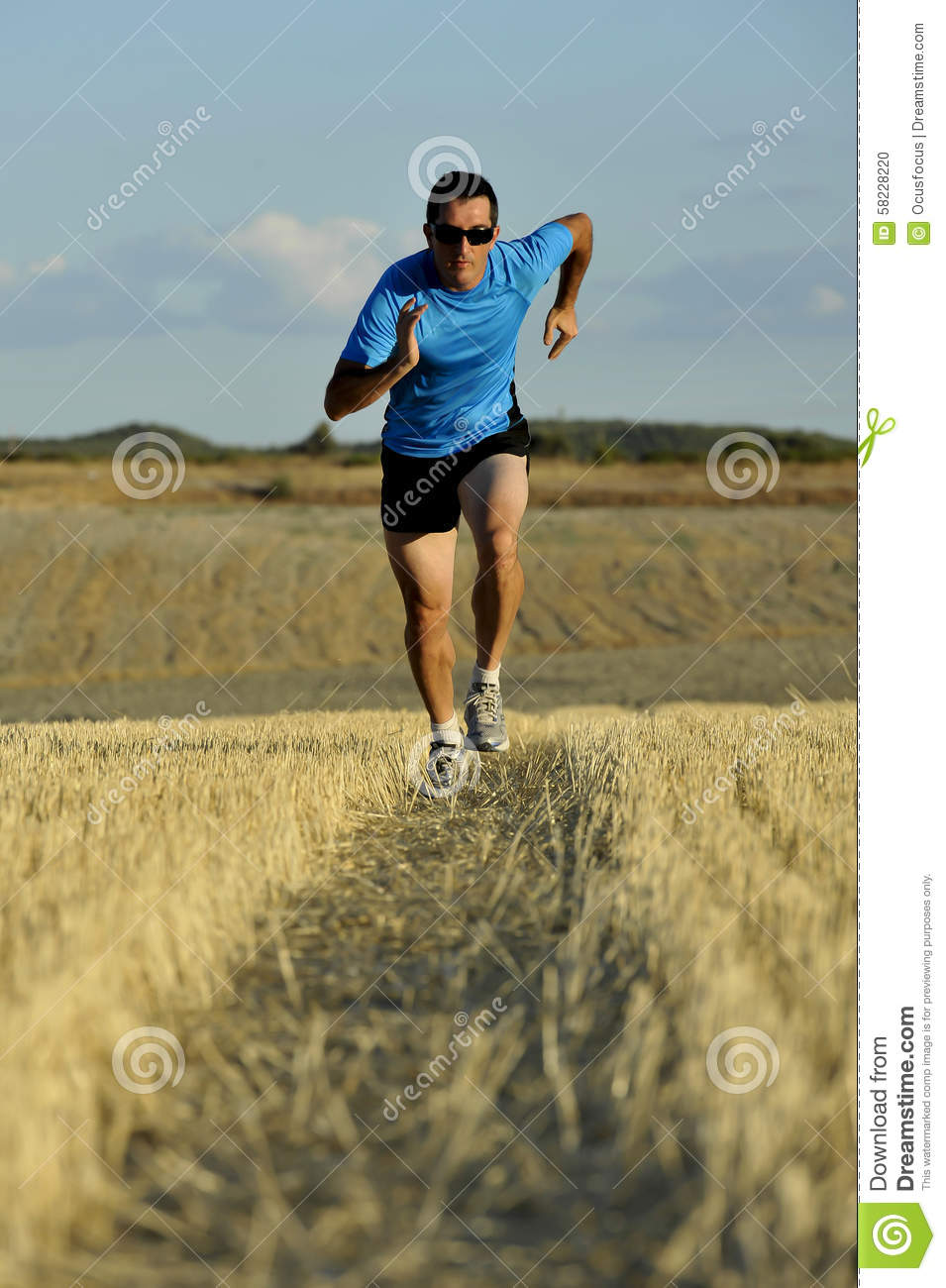 sunglasses running zibg  Sport man with sunglasses running outdoors on straw field ground in frontal  perspective