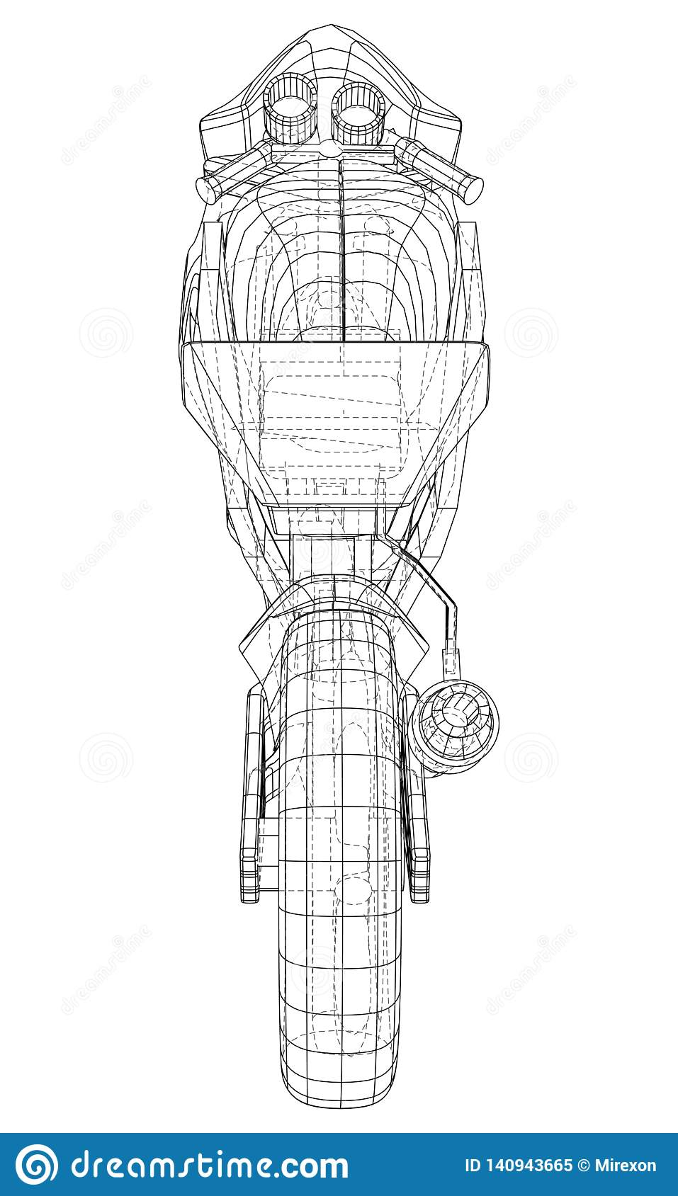 Sport Motorbike technical wire-frame. Vector rendering of 3d