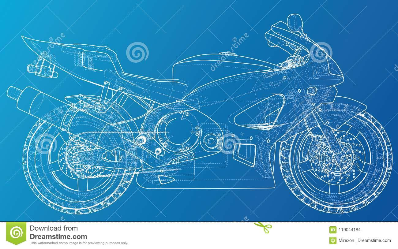 Sport Motorcycle Technical Wire-frame. EPS10 Format. Vector Created ...