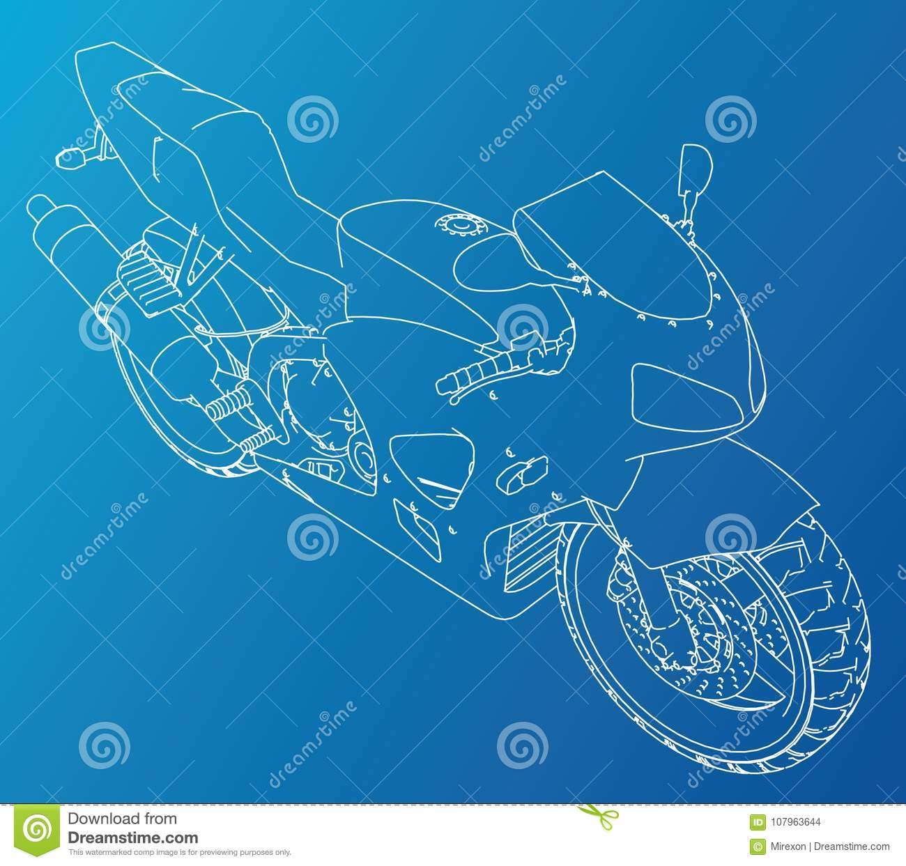 Sport Motorcycle Technical Wire-frame. Vector Illustration. Tracing ...