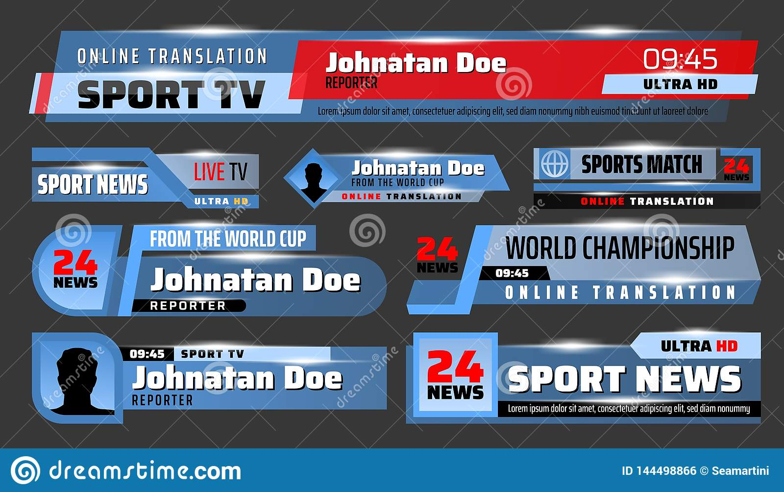 Sport News TV Backdrops And Title Bars Stock Vector - Illustration