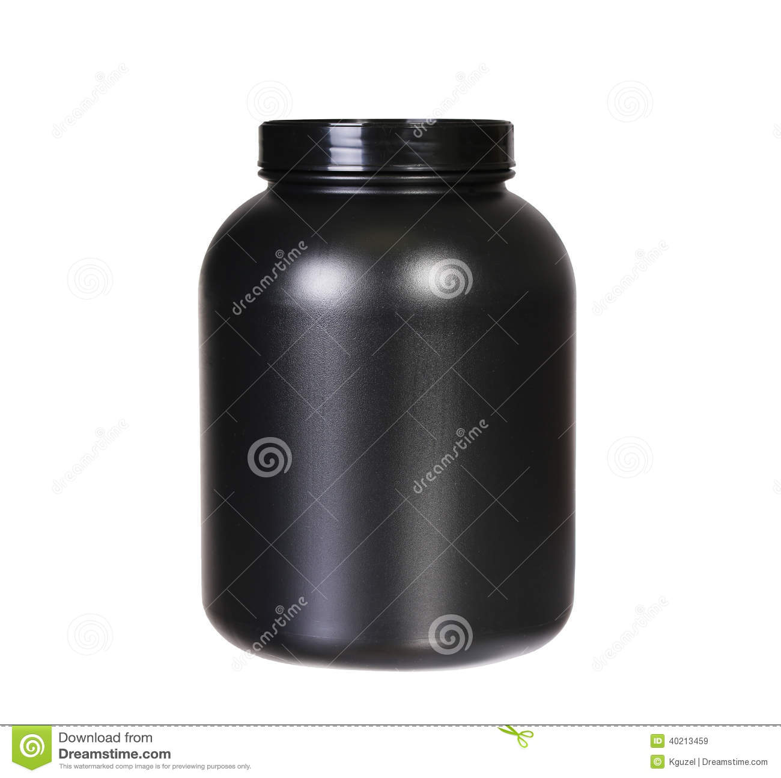 Sport Nutrition, Whey Protein Or Gainer. Black Plastic Jar