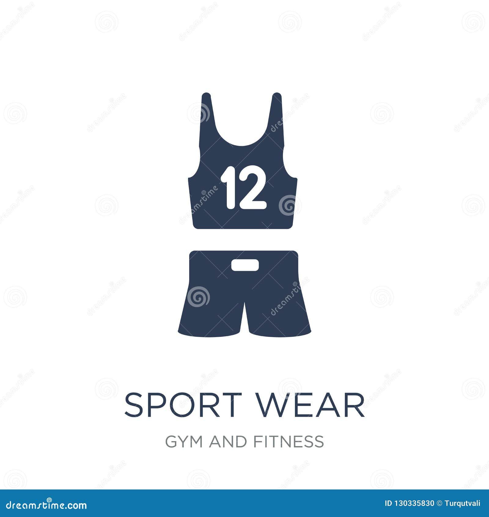 Sport odzieży ikona Modna płaska wektorowa sport odzieży ikona na białym bac