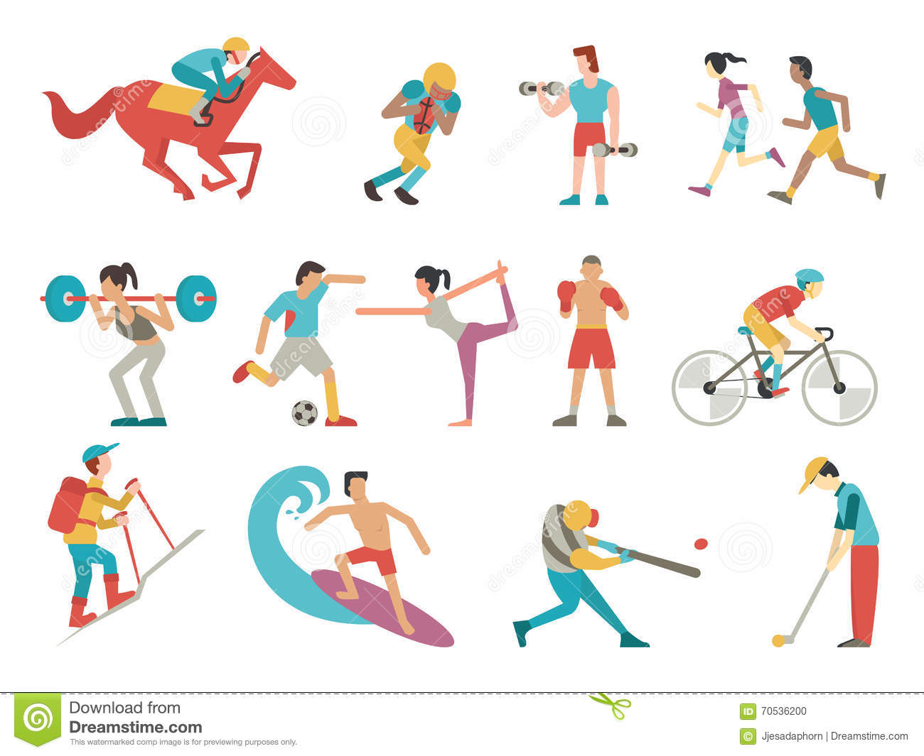 Simple Character Design Illustrator : Sport people set stock vector illustration of american