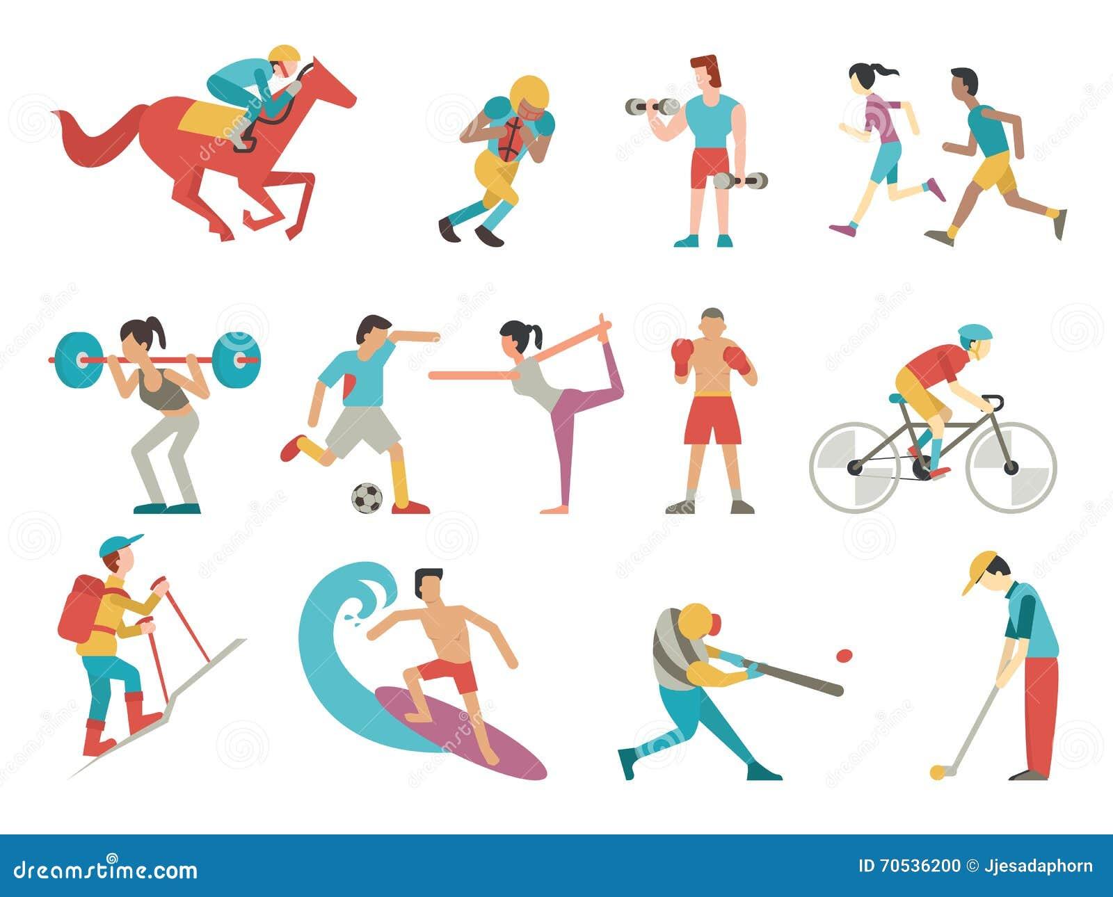 Vector Character Design Illustrator : Sport people set stock vector illustration of american