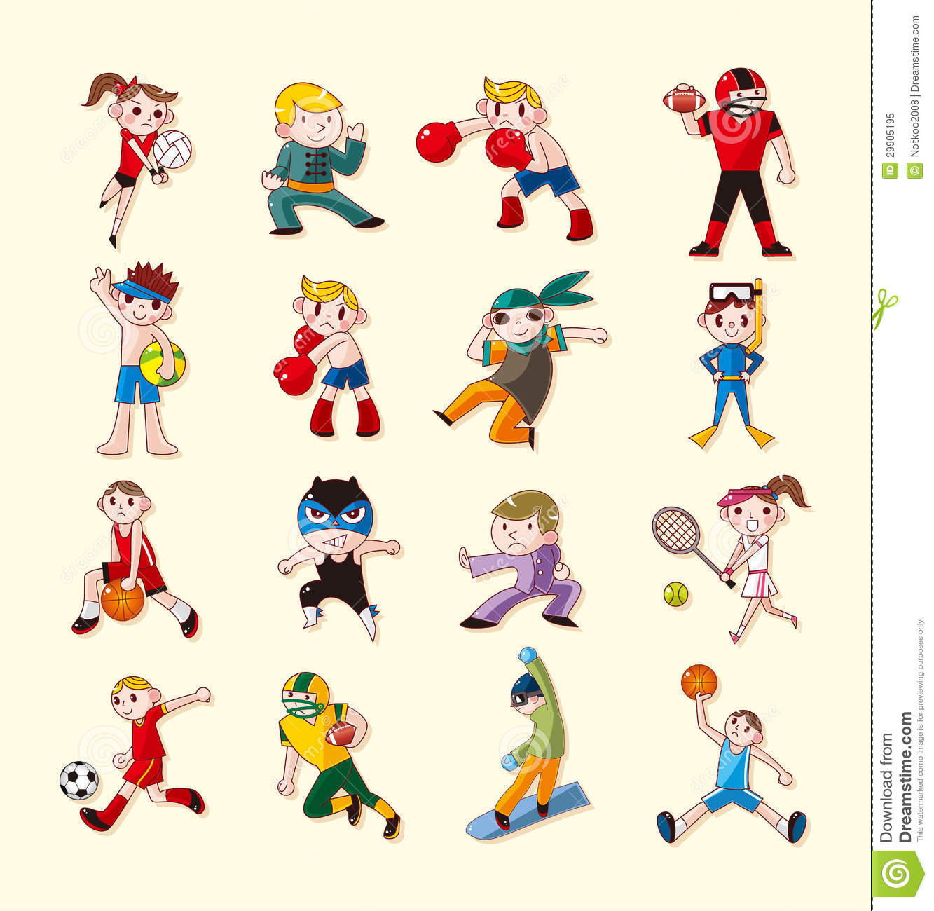 Sport Player Icons Set Royalty Free Stock Photo - Image: 29905195