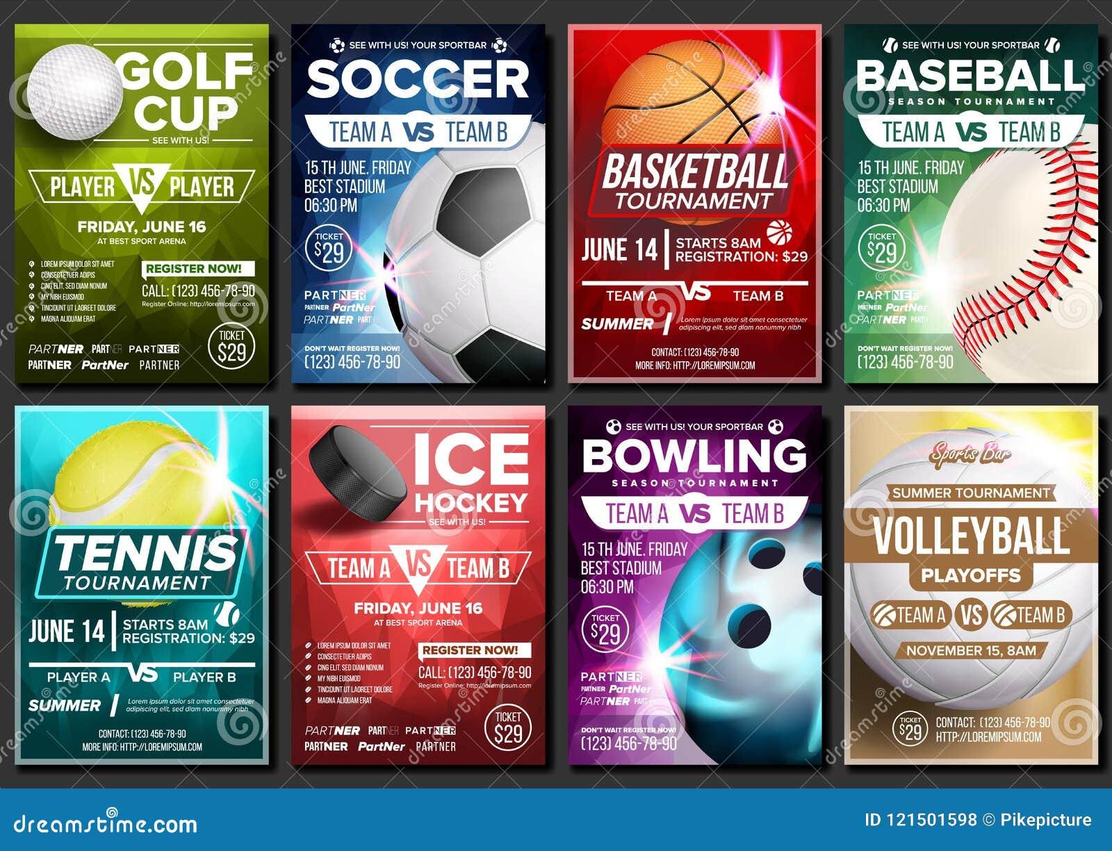 Sport Poster Set Vector Tennis Basketball Soccer Golf Baseball Football Ice
