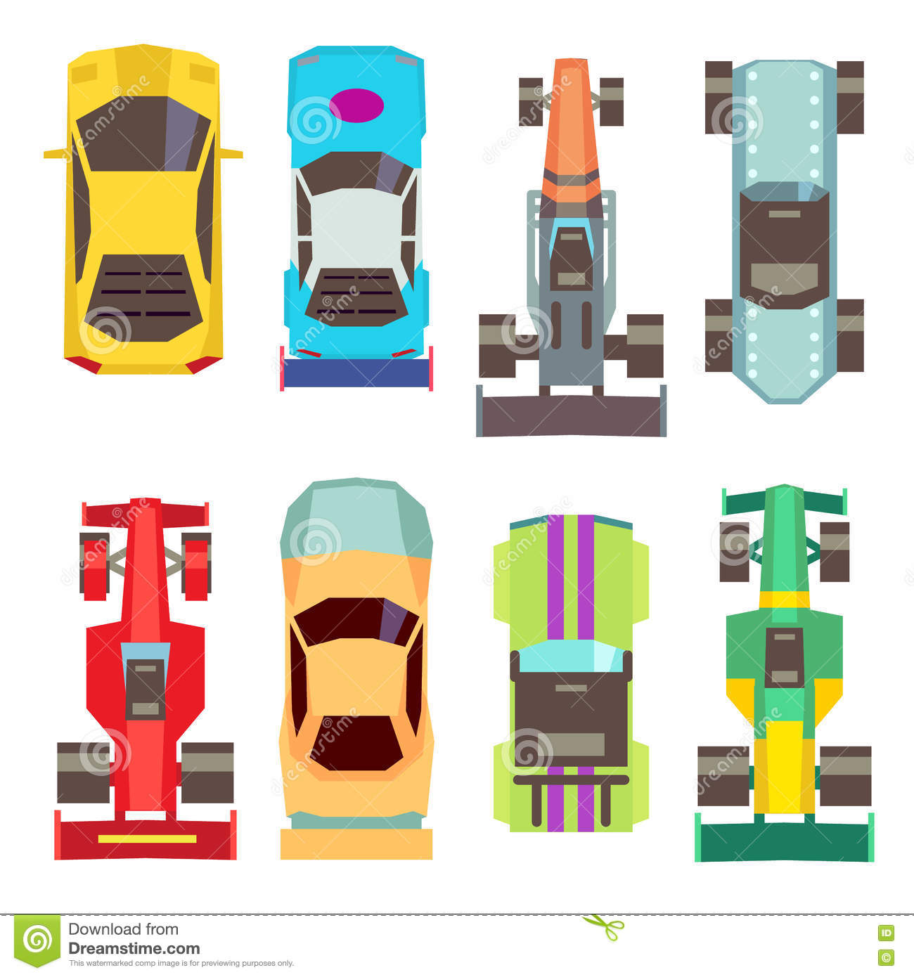 Sport Race Cars Top View Flat Vector Icons Stock Vector Image