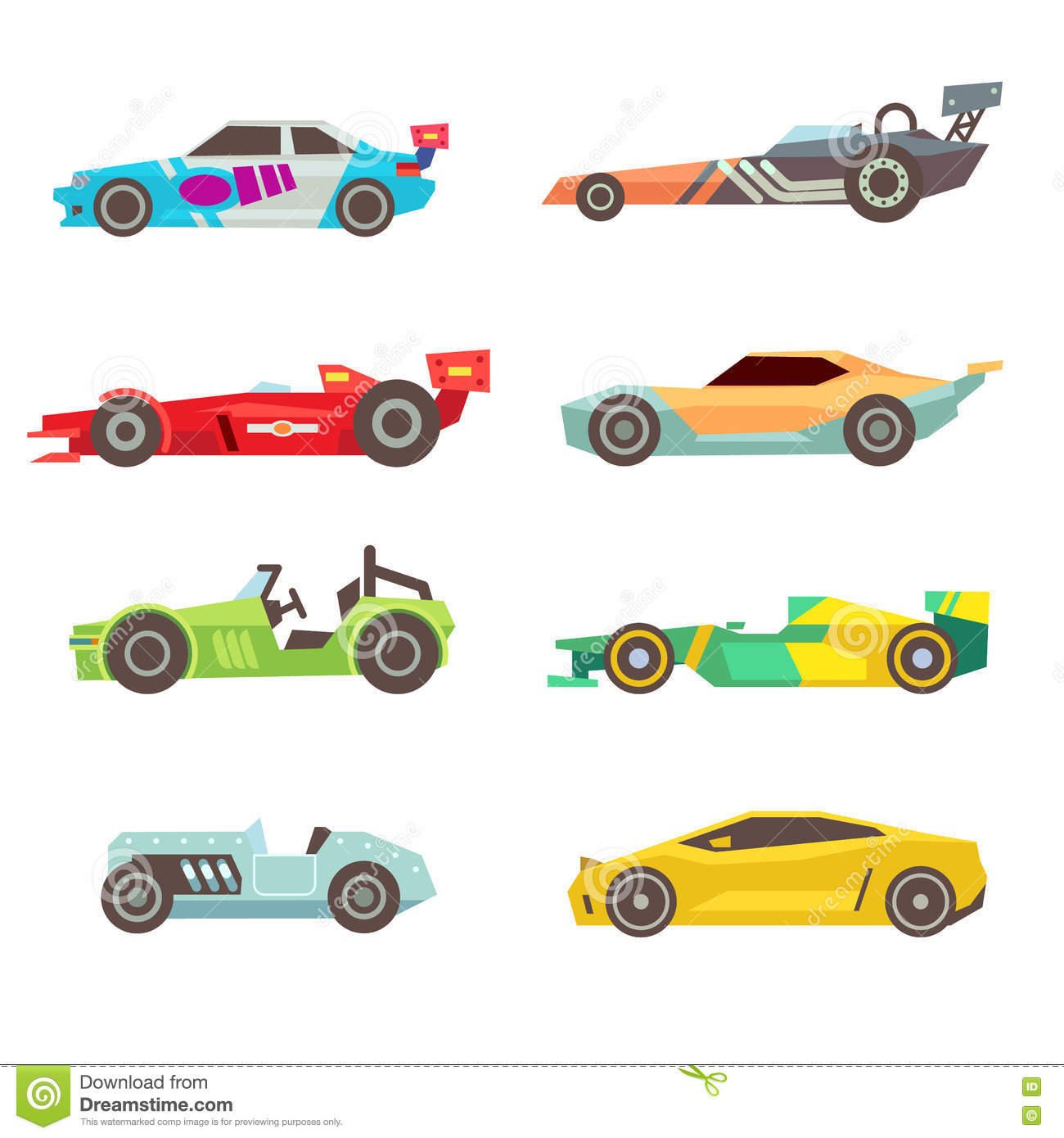 Sport Racing Car Flat Vector Icons Isolated On White Stock
