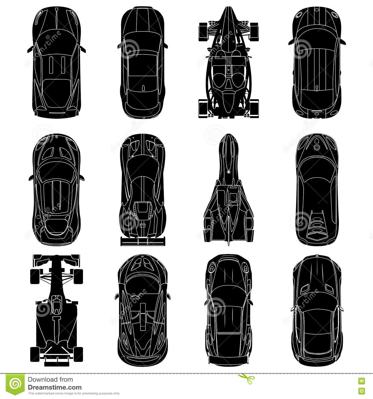 Sport And Racing Cars Top View Icons Set Car Silhouettes Stock
