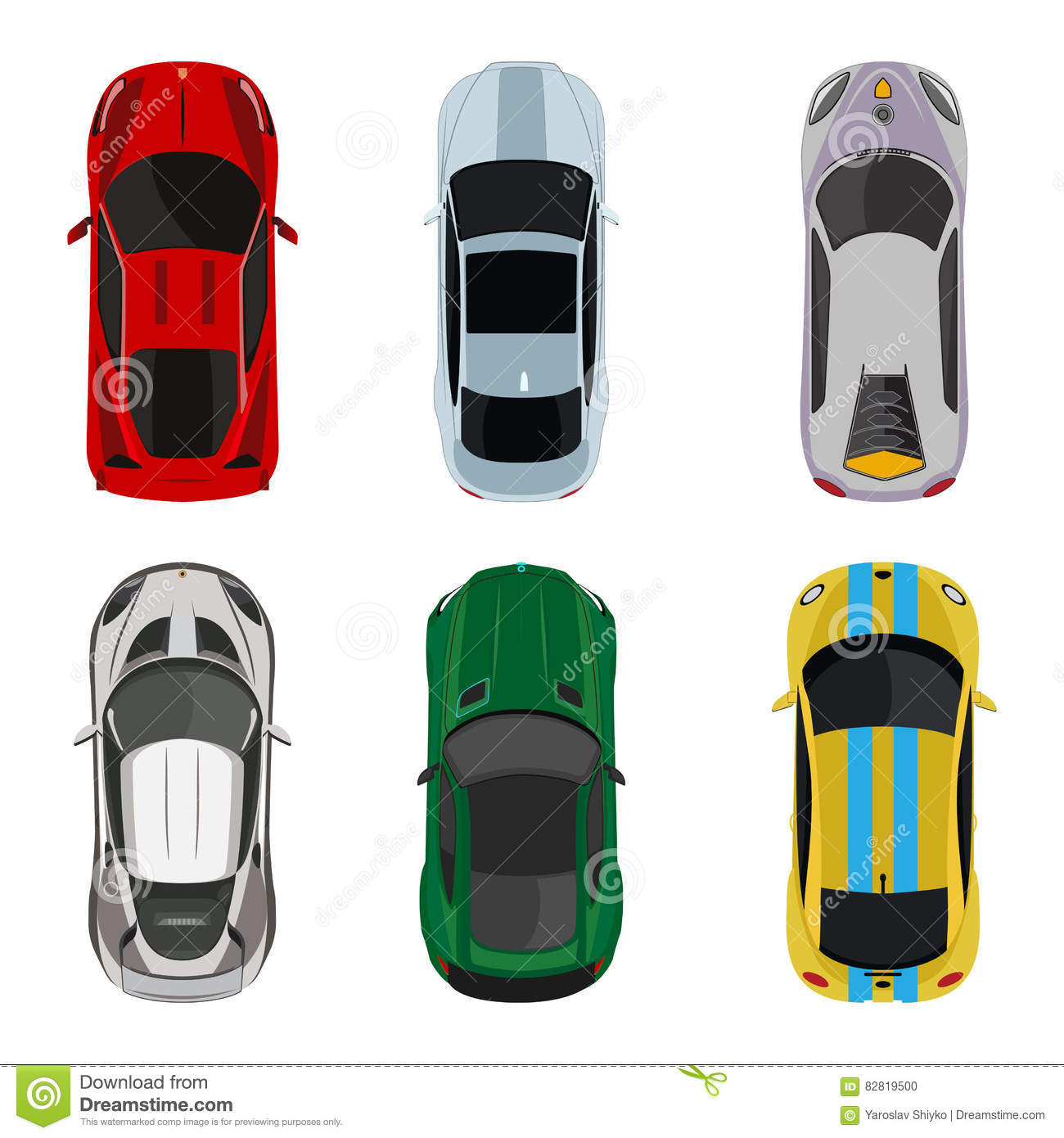 Sport And Racing Cars Top View Icons Set Vector
