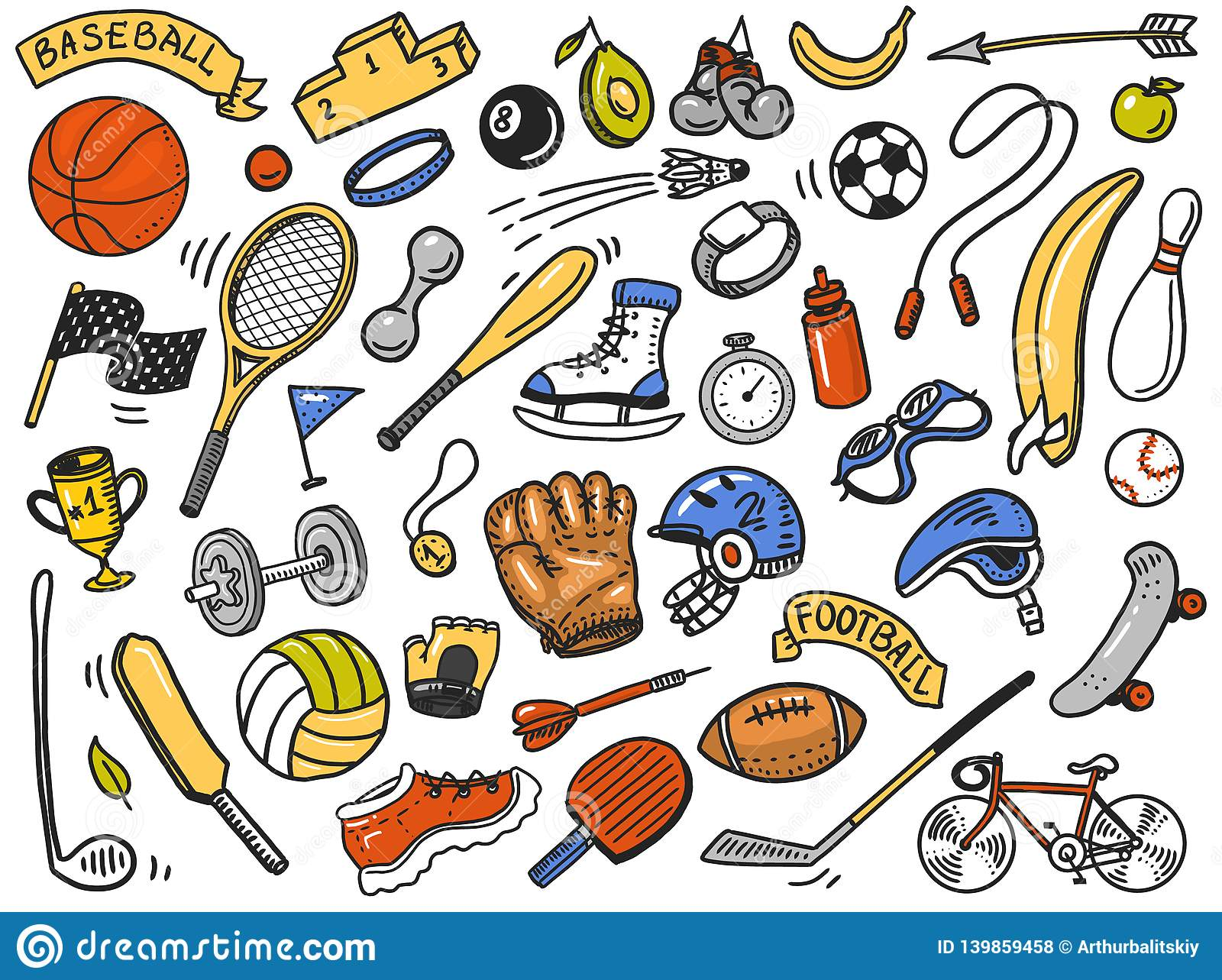 Sport Wallpaper Doodle: Sport Seamless Pattern. Icons Doodle Style. Equipment For