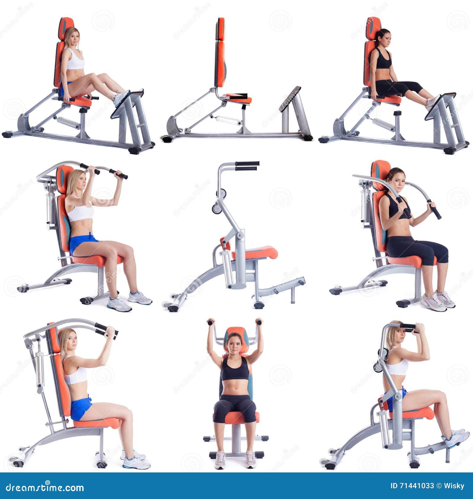 Sport Set śliczne dziewczyny ćwiczy na symulantach