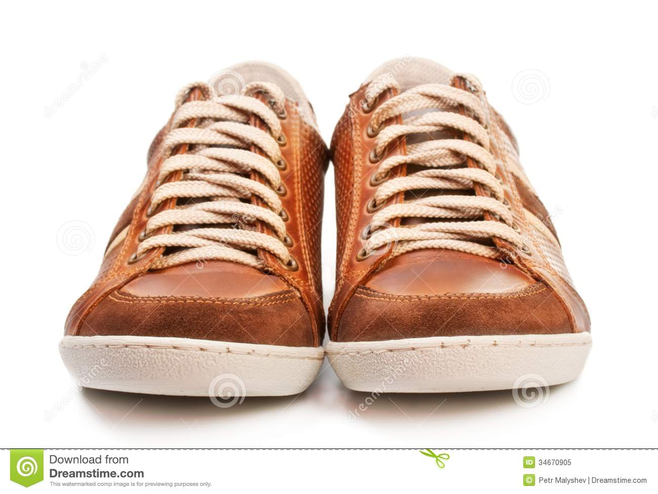 Brown Leather Athletic Shoes