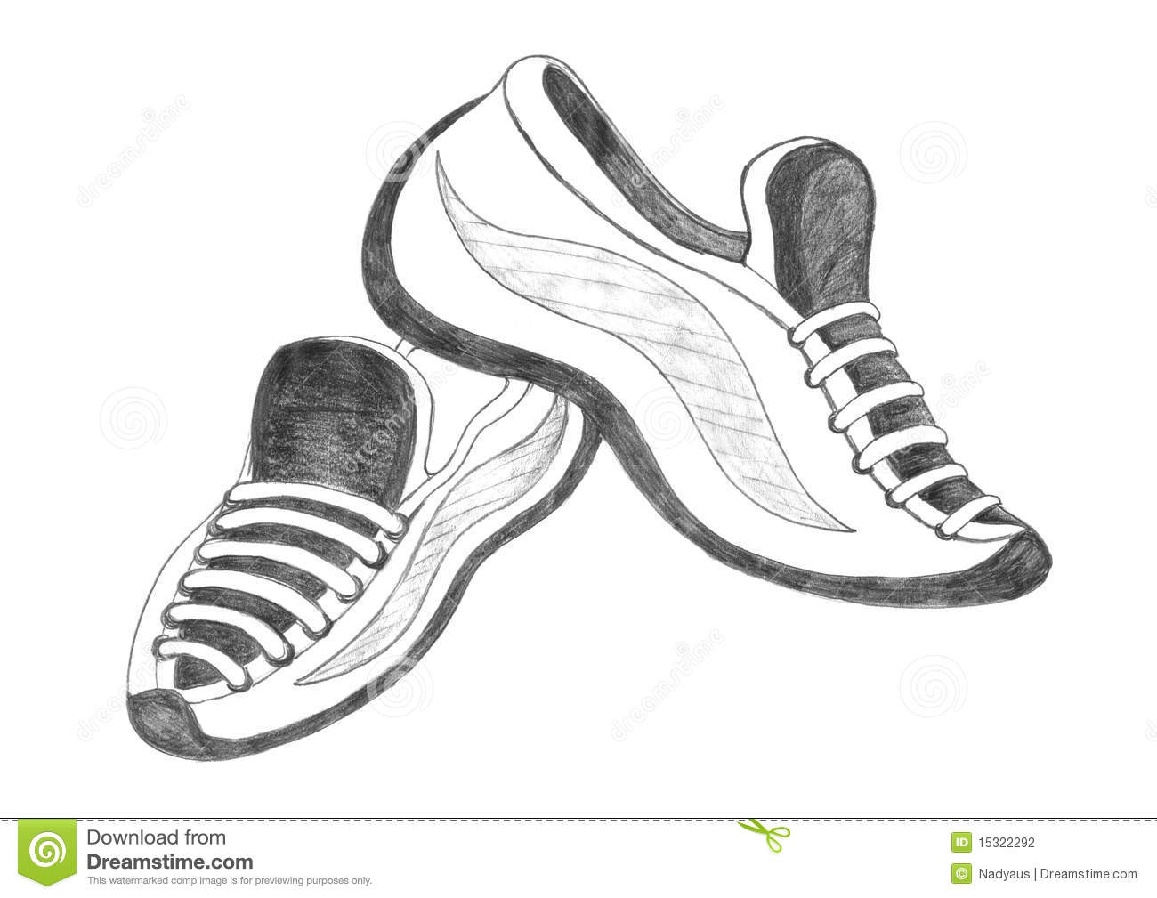 Sport shoes sketch isolated icon pencil drawing