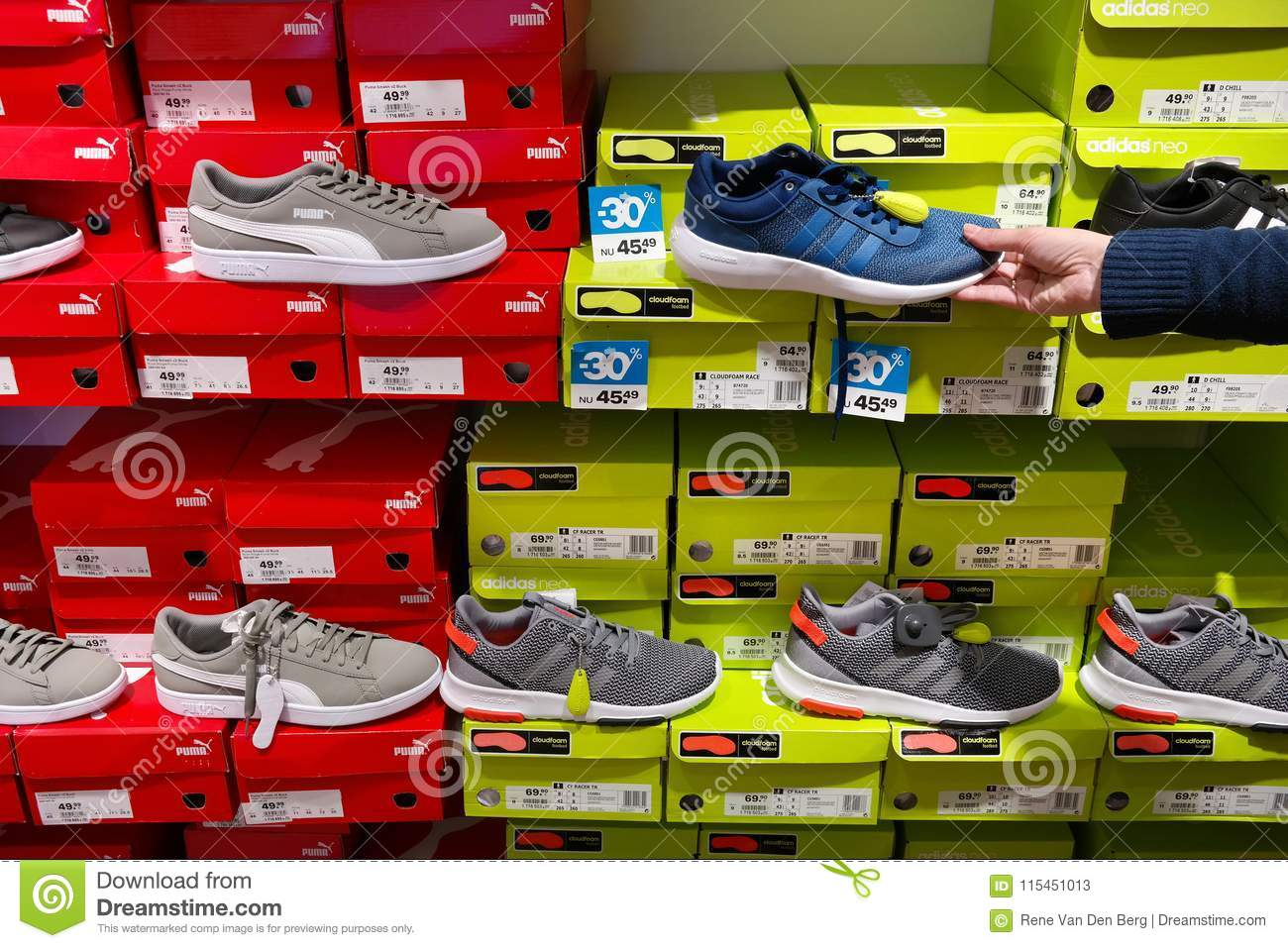 vast selection los angeles new york Sport Shoes In A Footwear Store Editorial Stock Photo ...