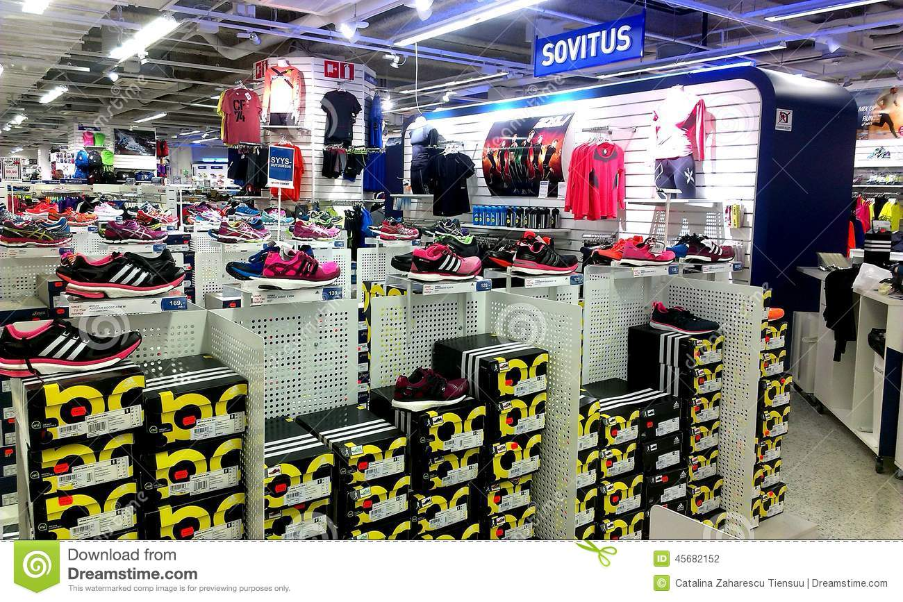 ca69576f07 Sport Shoes At Intersport Tampere, Finland Editorial Photography ...