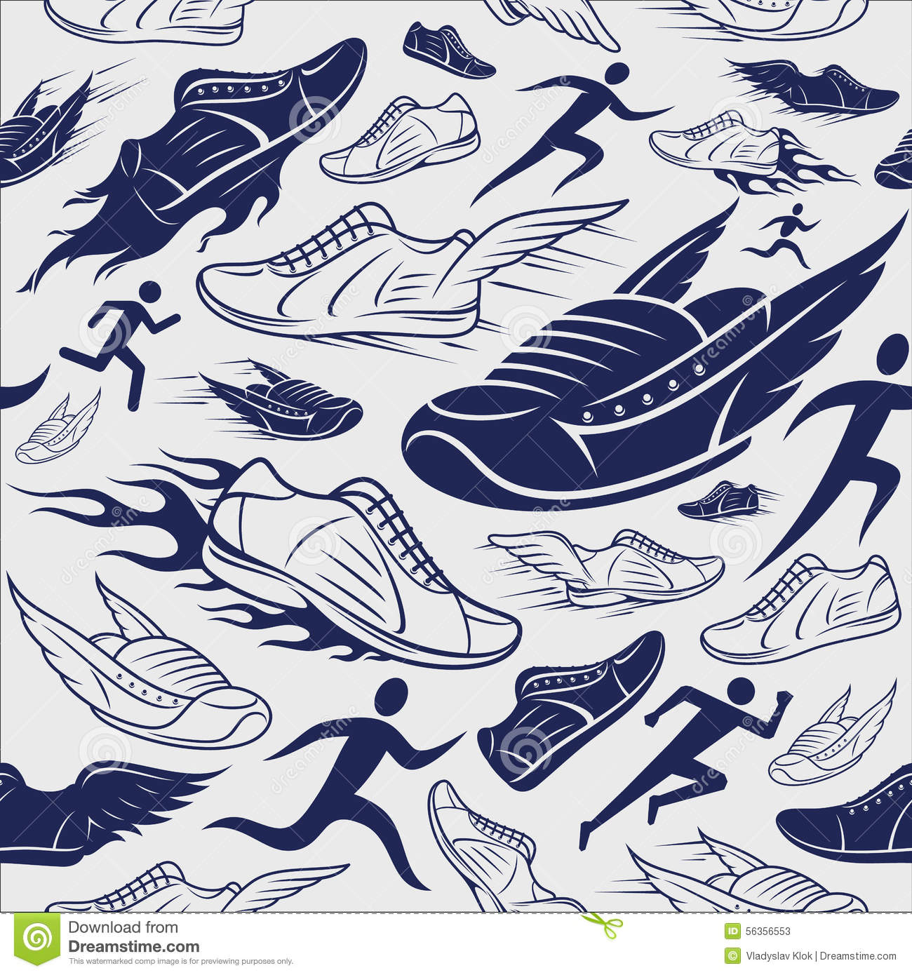 Can I Put Wallpaper On Top Of Wallpaper: Sport Shoes, Running Man Background, Seamles Pattern