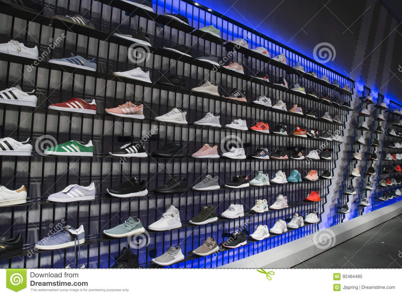 Sport Shoes On Shelves In Adidas Sports Shop Editorial Image Image 92464485