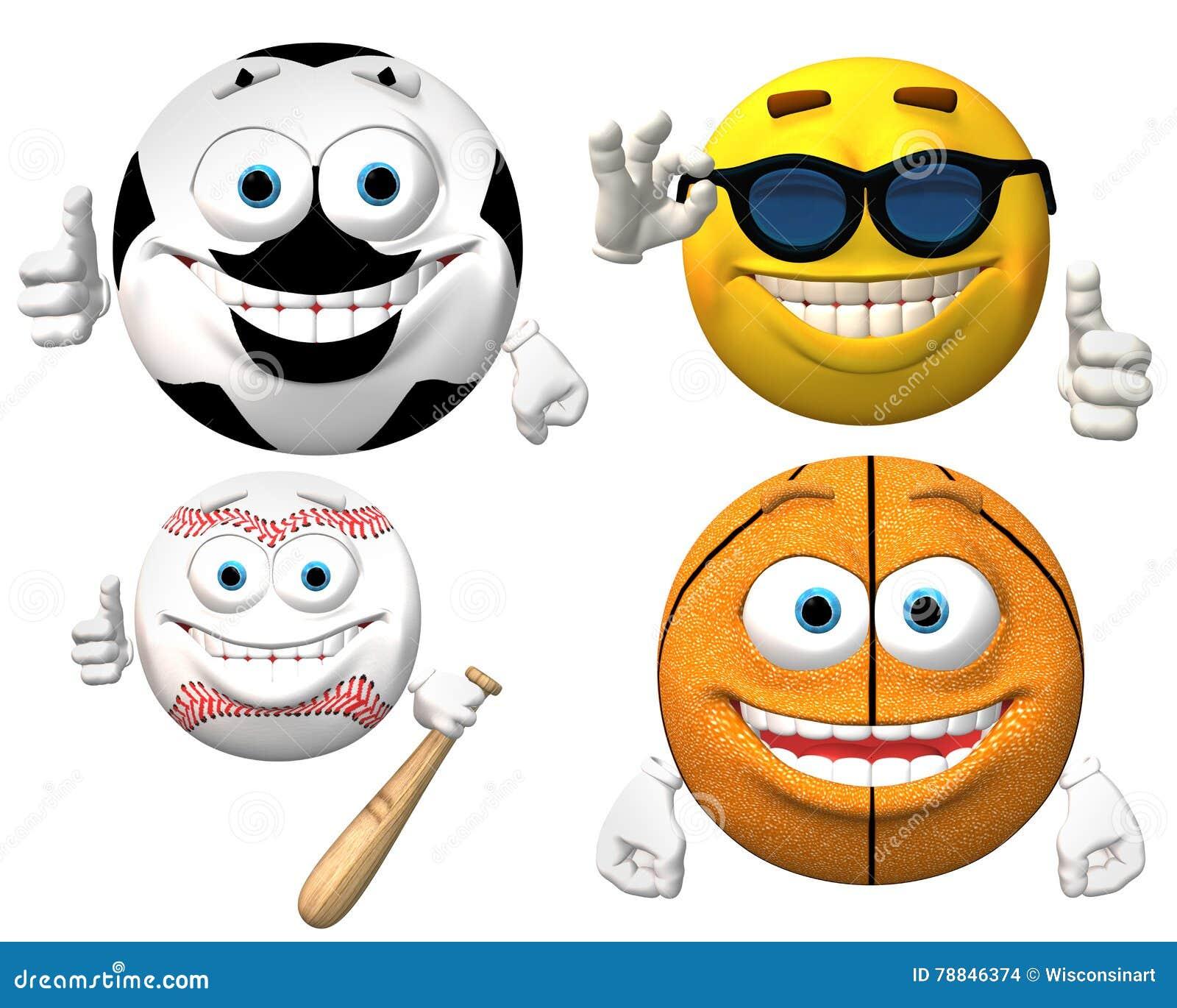 Sport Smiley Faces Isolated Stockfoto Illustration Von