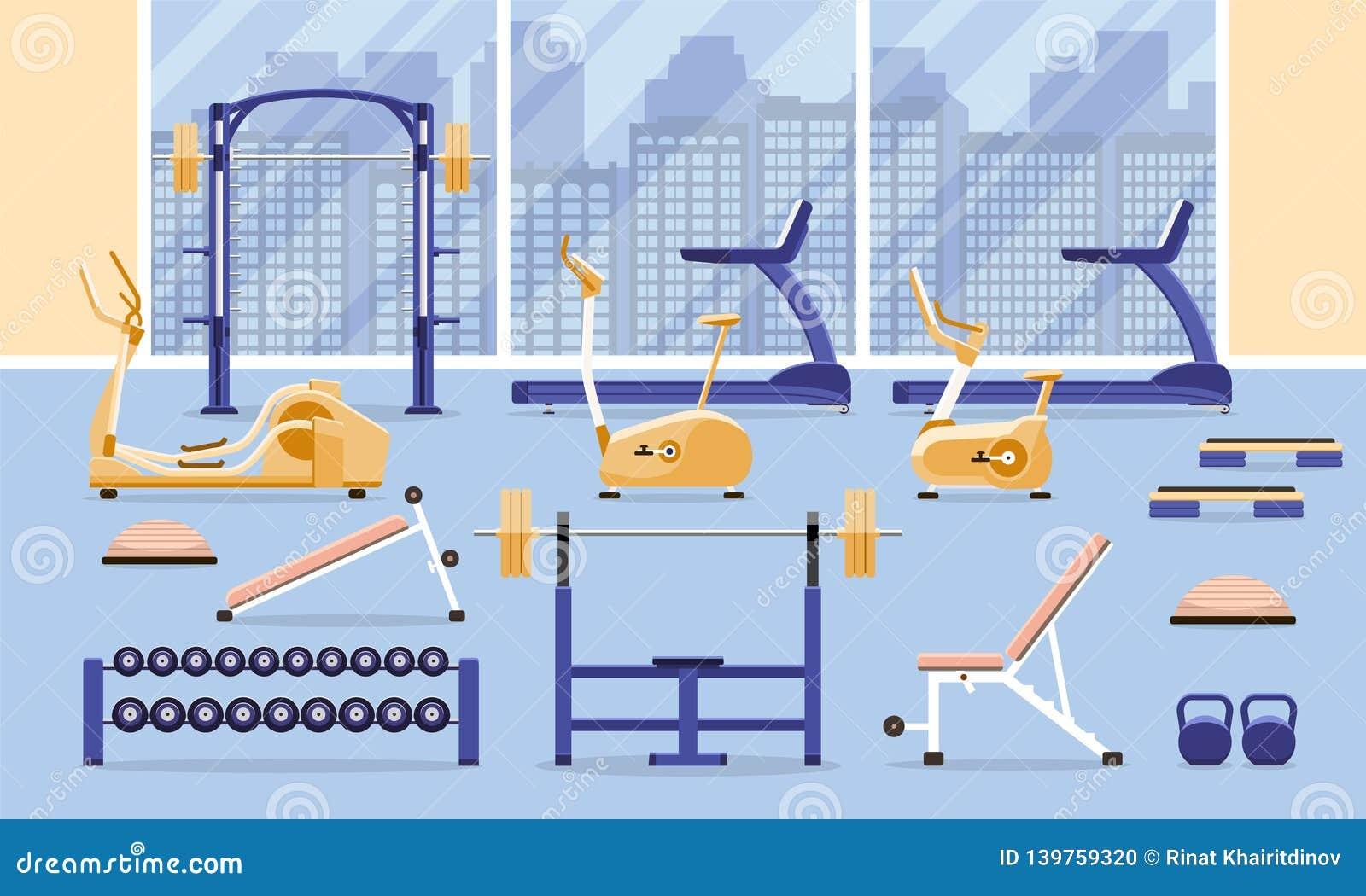 Sport sprawności fizycznej gym treningu wewnętrzny wyposażenie